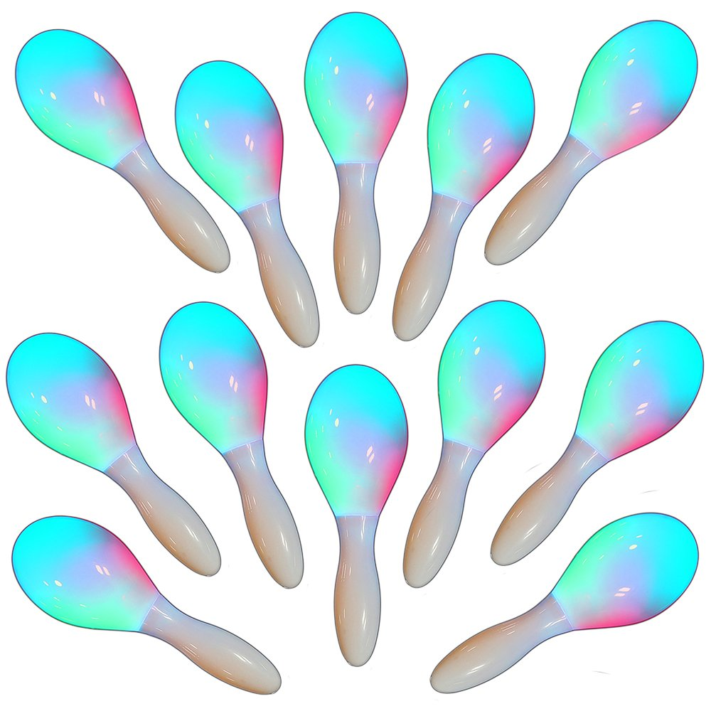 12 x Light Up LED Flashing Maracas Multi Colour Sensory Toy The Glowhouse