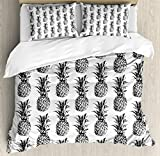 Difference Between Full and Queen Bed Ambesonne Pineapple Duvet Cover Set, Artistic Hand Drawn Tropical Theme Vintage Style Pineapple Fruit Pattern, 3 Piece Bedding Set with Pillow Shams, Queen/Full, Black Gray White