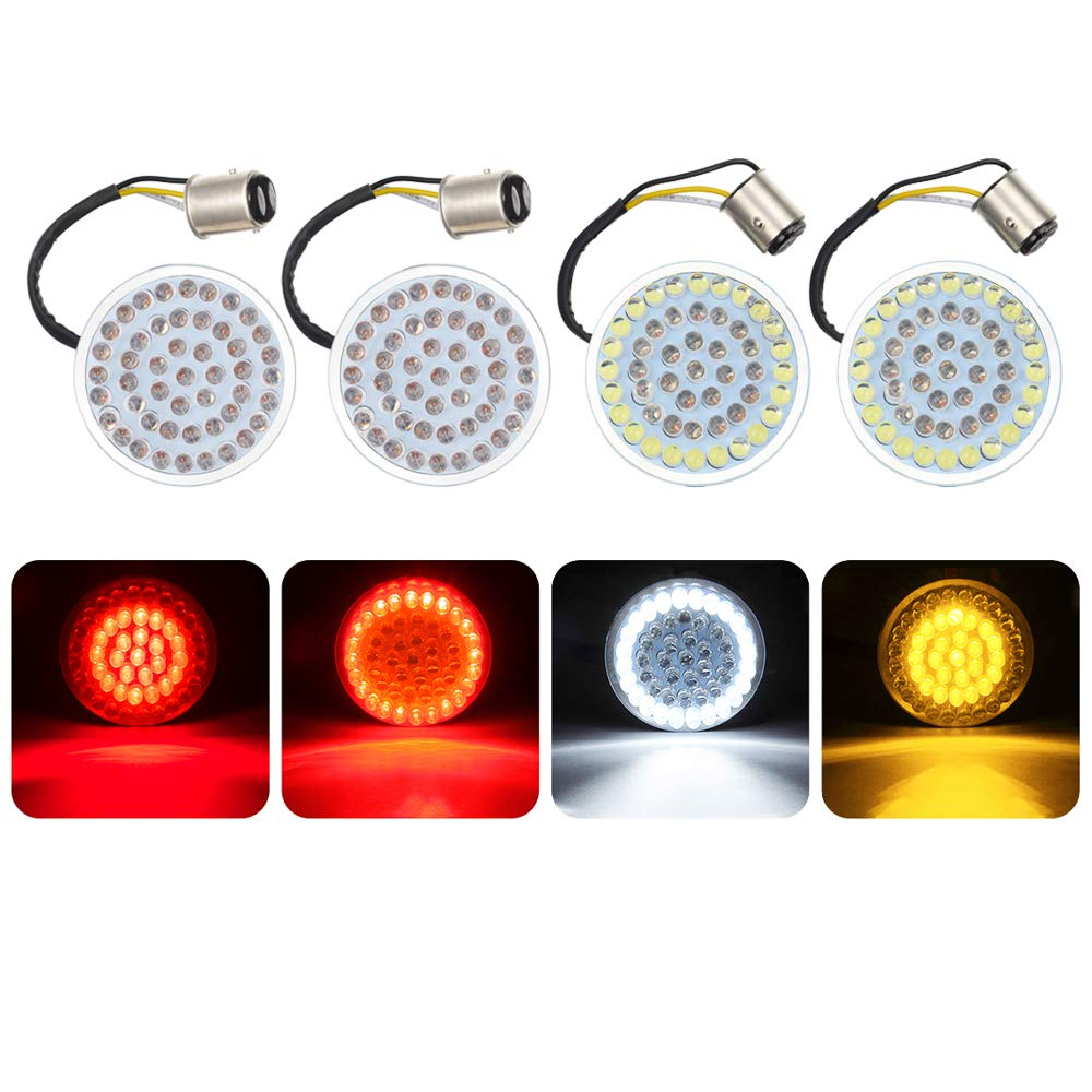 Amazicha 4 pcs 2'' LED Turn Signal Kit for Harley 1157 Base White/Amber Front Turn Signal bulbs + 1157 Double Connector Red Rear Lights Turn Signal Compatible for Harley Street Glide