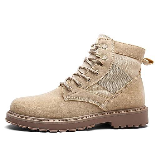 Botas Militares TáCticas para Hombre Botines De Cuero Negros para Hombres Zapatos De Lona De Trabajo para Adultos Botas con Cordones Casuales: Amazon.es: ...