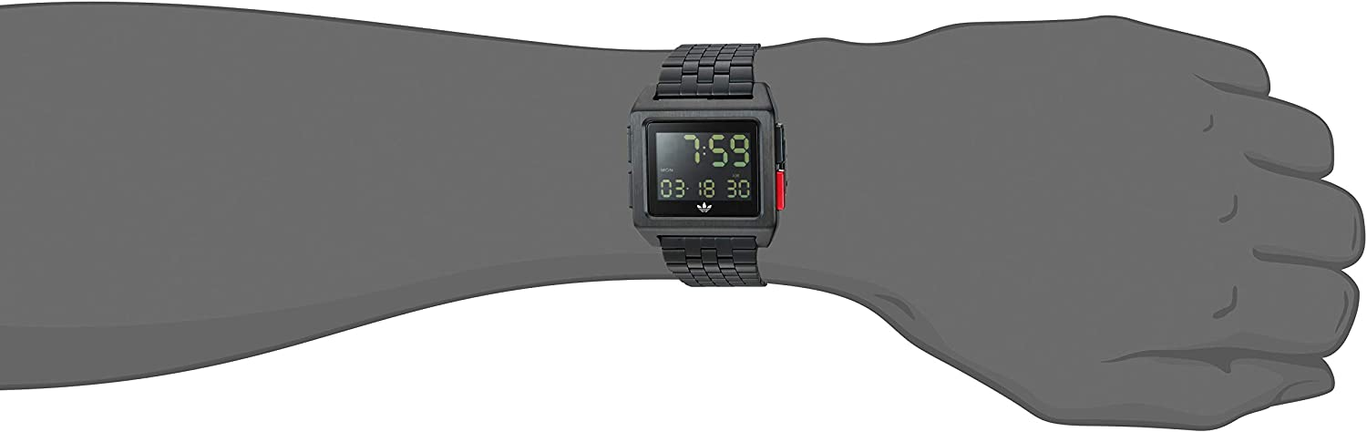 Adidas Watches Archive_M1. Men's 70's Style Stainless Steel Digital Watch with 5 Link Bracelet (36 mm). All Black / Blue / Red
