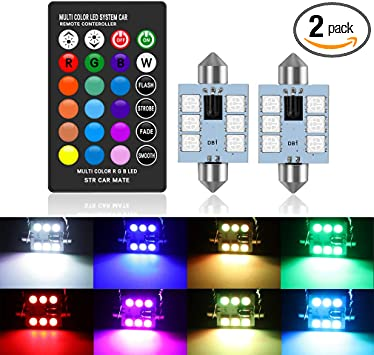 578 LED Bulbs 42mm 1.65 Inches LED Festoon 211-2 212-2 560 Bulb 16 Colors Change RGB with Remote Control Replacement for Dome Map Door Courtesy Trunk License Plate Lights Lamps