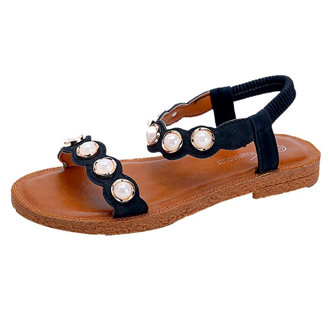Sandalen Damen Sommer LUCKYCAT Damen Flache Perle Mode Sandalen Schuhe Damenschuhe SandalenCN:38=EU:37|Schwarz