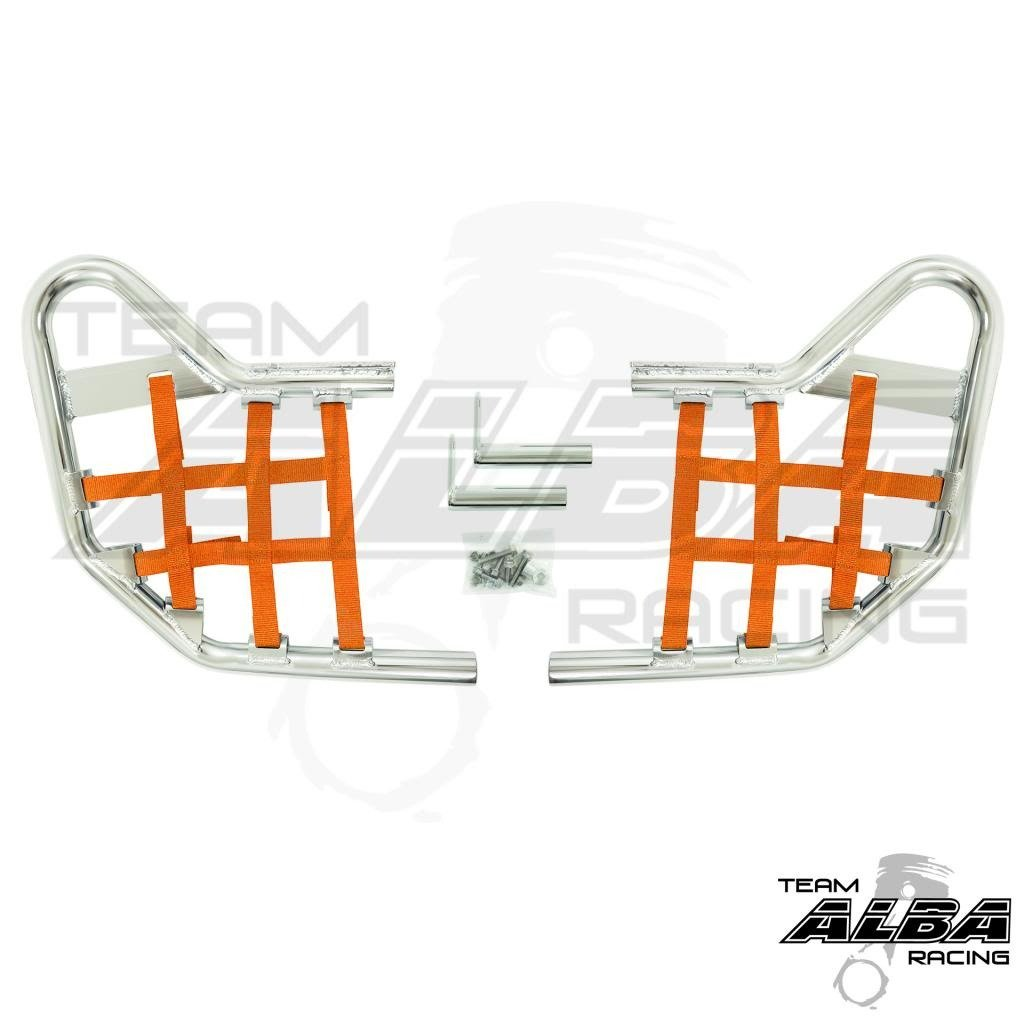 Yamaha Warrior YFM 350X (1990-2004) Standard Nerf Bars Silver w/Orange Net