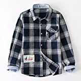 Kungfu ant Kids Girls Boys' Casual Cotton Western Long Sleeve Button Down Plaid Shirt with Pocket for 2t-10 Age
