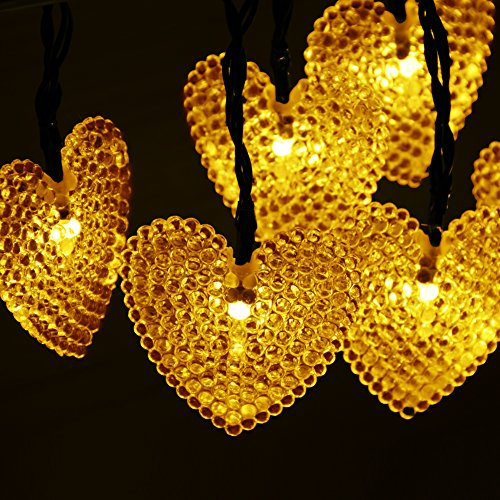 Dephen Solar Powered Starry Fairy String Lights 20ft 30 LED Solar  Heart Shaped String Lights Waterproof Ambiance Lighting For Outdoor Garden  Patio Christmas ...