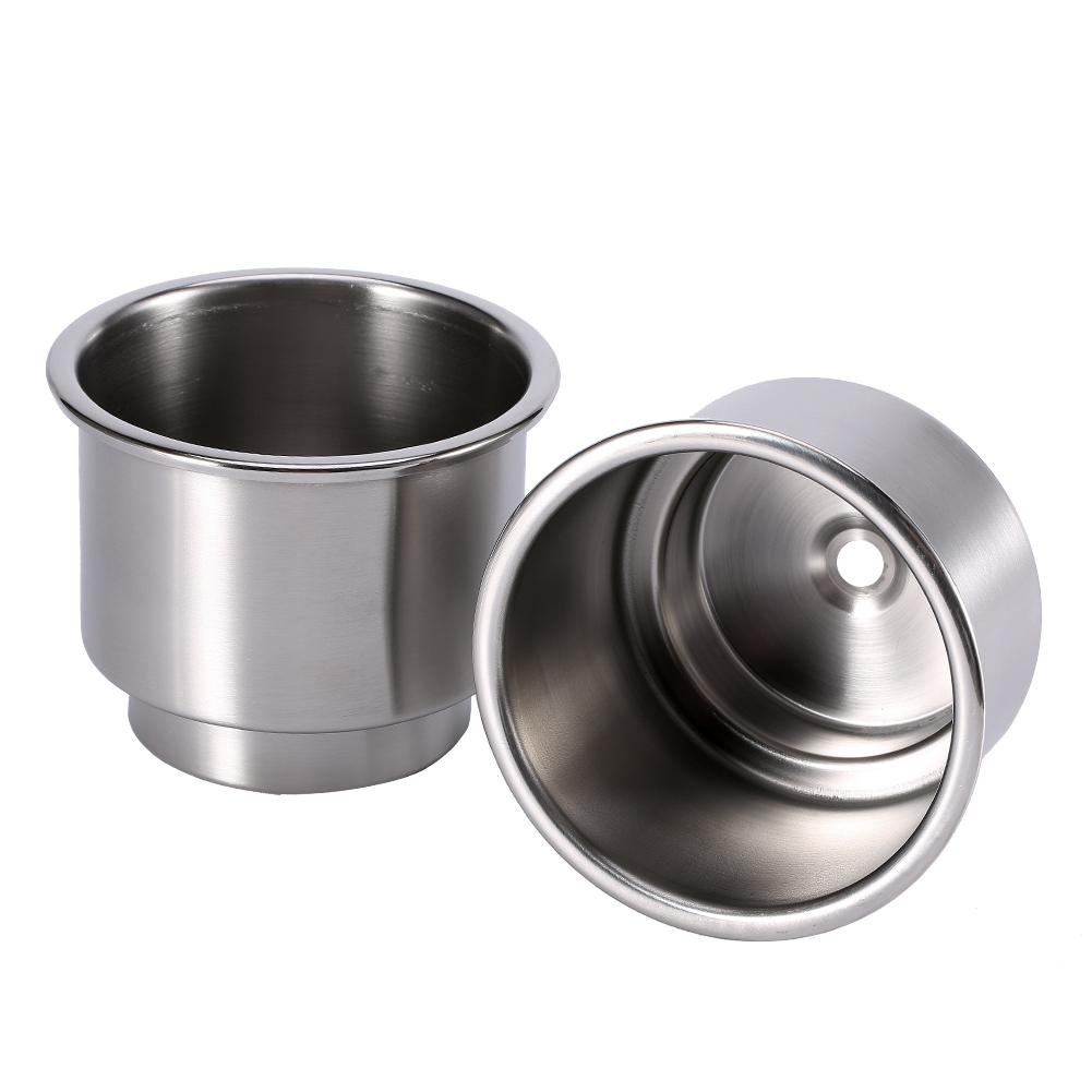 2PCS stainless steel Cup drink Holder for Boat, universale drink Bottle can Cup Holder Insert marine con foro di scarico inserto per marine RV barca yacht auto Keenso