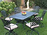 Outdoor Cast Aluminum Patio Furniture 7 Piece Dining Set ML15590T with 6 Swivel Rockers CBM1290 Review