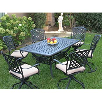 Outdoor Cast Aluminum Patio Furniture 7 Piece Dining Set ML15590T With 6  Swivel Rockers CBM1290