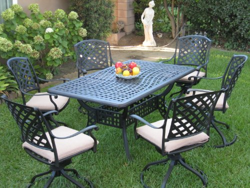 Cheap Outdoor Cast Aluminum Patio Furniture 7 Piece Dining Set ML15590T with 6 Swivel Rockers CBM1290