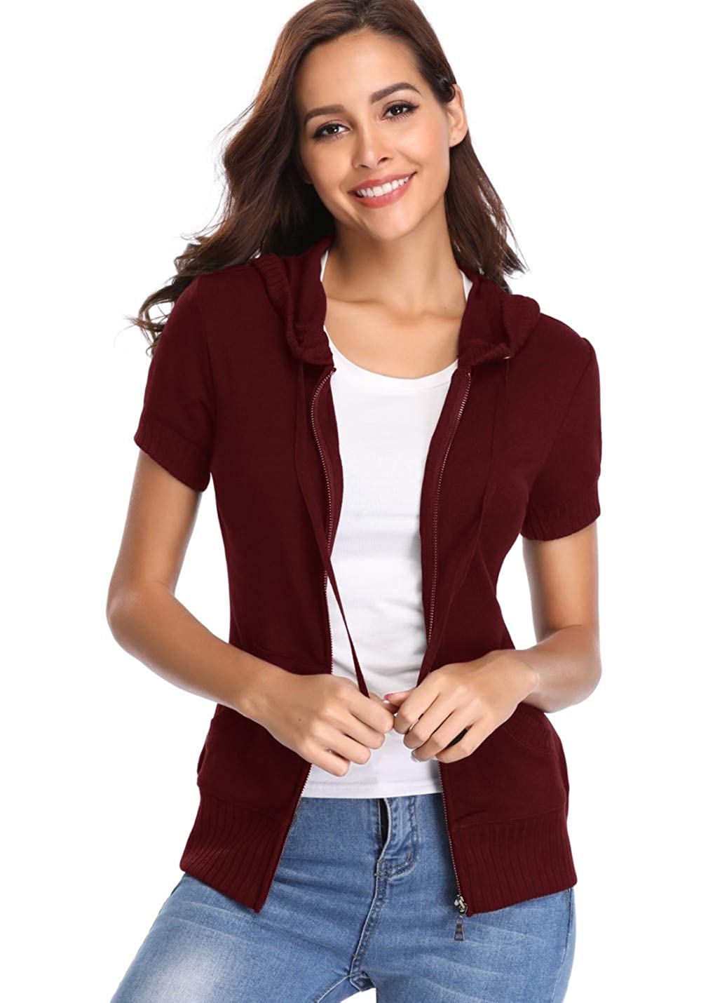MISS MOLY Womens Short Sleeve Zip up Hoodies Lightweight Running Jackets Casual Sweatshirt Outfit with Pockets