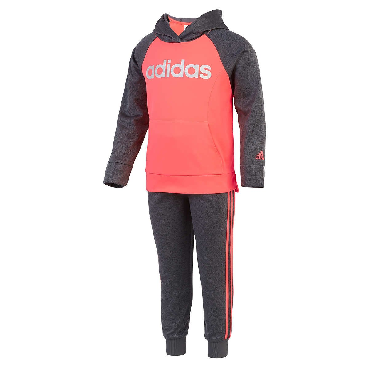 Adidas Girls Tricot Hoodie Jacket and Pant Set (3T, Heather Gray /Neon Pink)