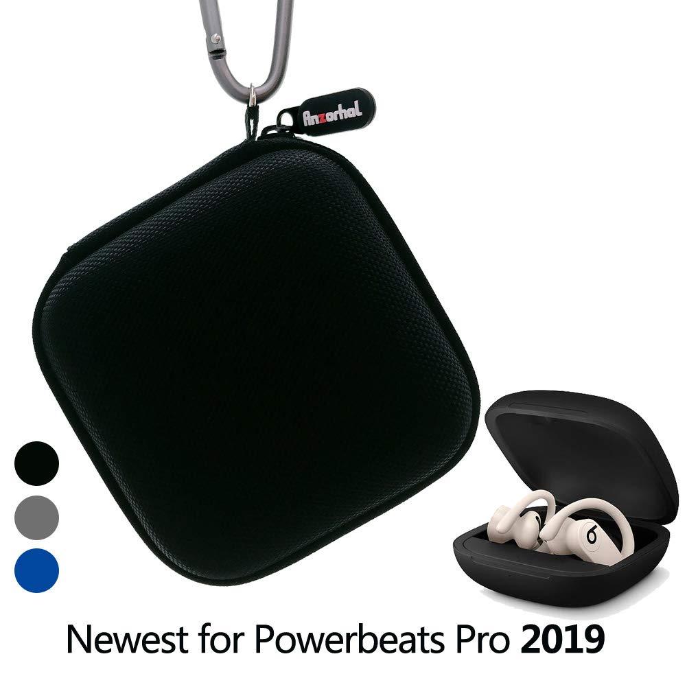Powerbeats Pro 2019用ポータブルキャリーケース 紛失防止&耐衝撃性 カラビナ リストストラップ付き Powerbeats Pro 2019 [Powerbeats Proは含まれません] Anzorhal-2019-3000  ブラック B07RWVWX6D