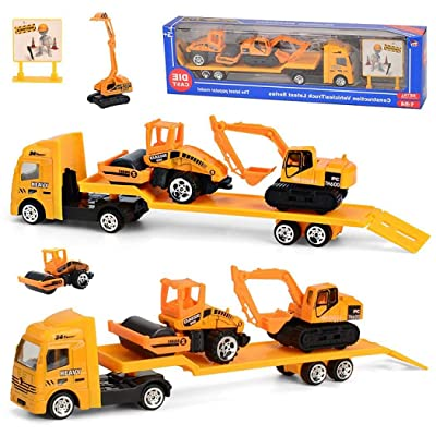 GoodKE 4-Pieces Set Children Alloy Engineering Car Toy Mini Simulation Car Model Toys Vehicle Playsets: Toys & Games