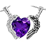 Star K His and Hers Winged Love Couple 2pcs Pendant Set with Heart Shape 11mm Simulated Stone