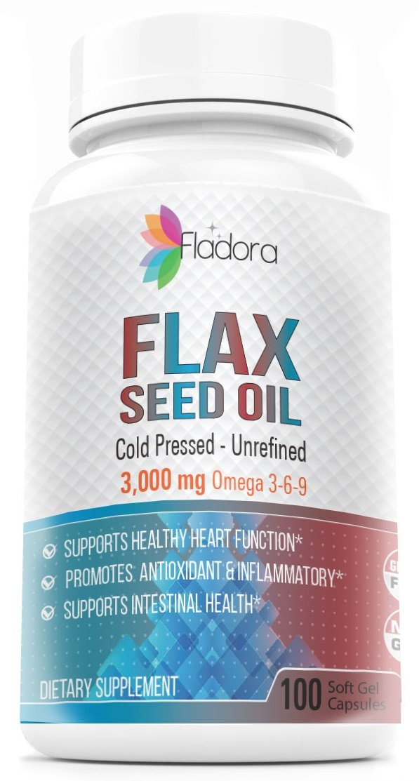 Natural Flaxseed Oil Softgels 3000mg – Cold Pressed, Unrefined, Omega 3-6-9, Promotes Heart and Immune Health, 100 Count by Fladora