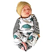 Matoen Infant Baby Boy Girl Tortoise Turtle Striped Romper Jumpsuit Hat Clothes Set (0-6 Months, White)