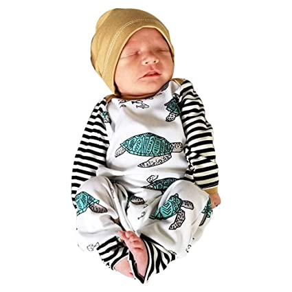 c32102595c30 LEERYAAY Baby Turtle Cute Robes Jumpsuit Hat New Spring Baby Boy Girl  Striped Romper Set (