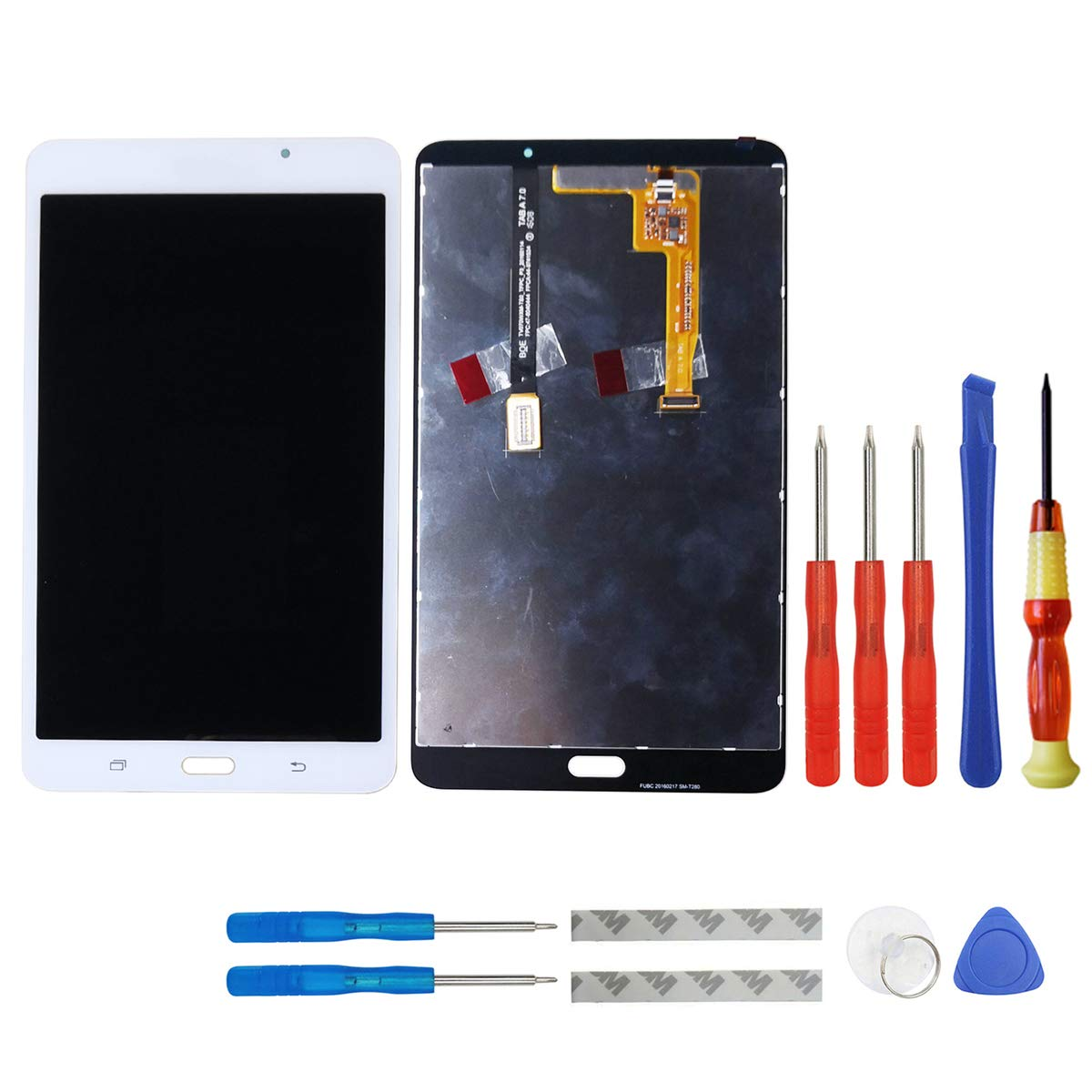 swark LCD Compatible with Samsung Galaxy Tab A 7.0 WiFi Tablet SM-T280 LCD Display Digitizer Touch Screen Assembly (White) + Tools(Not for 3G Version & T285 & No Earpiece Hole)