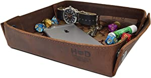 Hide & Drink, Leather Catchall Tray, Easy Access Organizer for Keys, Coins, Change, Jewelry, Watches, Smartphones, Durable, Vintage Style, Handmade Includes 101 Year Warranty :: Bourbon Brown