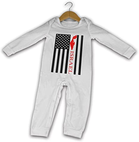 YELTY6F Fire Department Flag Printed Newborn Baby Jumpsuit Long Sleeve Rompers Black