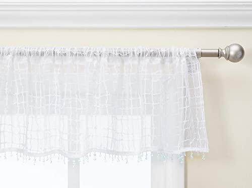 Heritage Lace Seacoast Valance with Trim, 45 by 15-Inch, White
