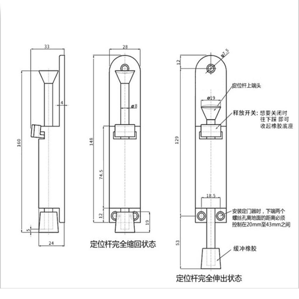 B Blesiya 1 x 148mm Kick Down Foot Operate Door Stop Rubber Buffe Stopper Prop Stay Silver//Bronze Bronze