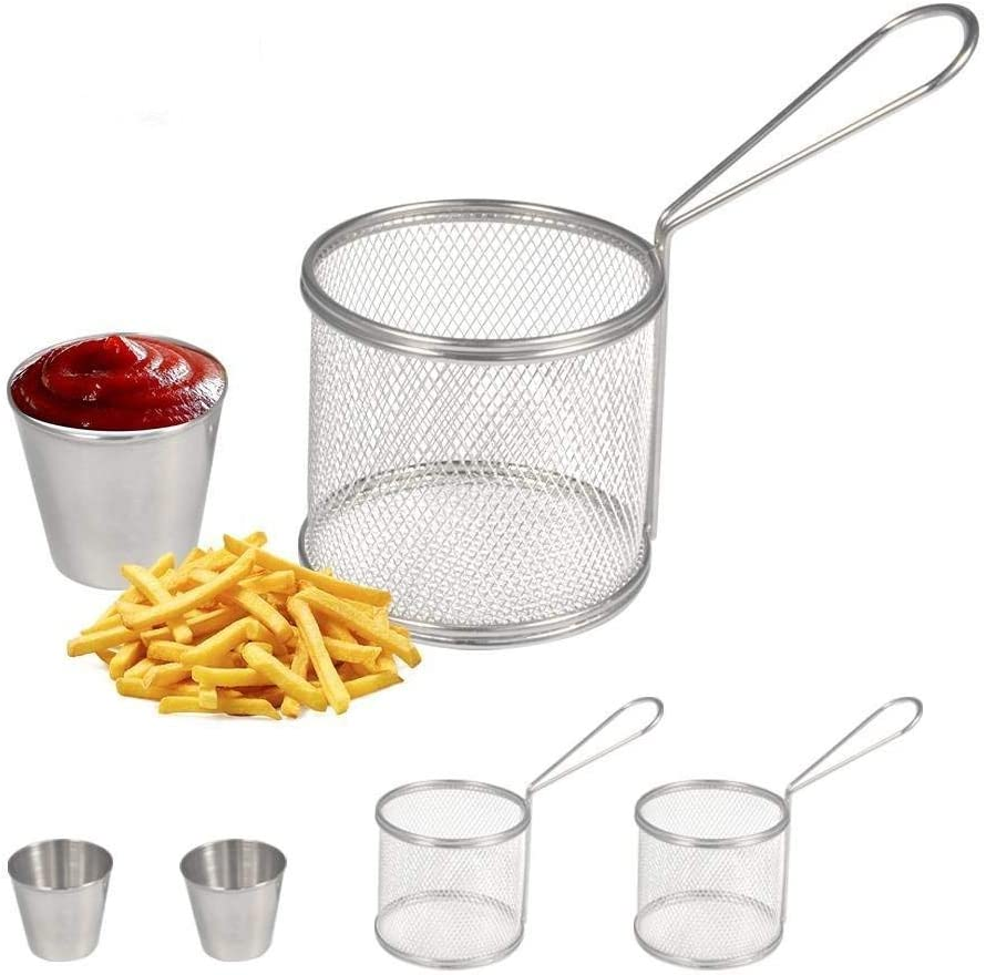 Fry Baskets, Mini Round Stainless Steel French Fries Mesh Fryer Basket Holder Cooking Tool with Sauce Cup for Table Serving Food Presentation Kitchen Use(2pcs Baskets + 2pcs Cups)