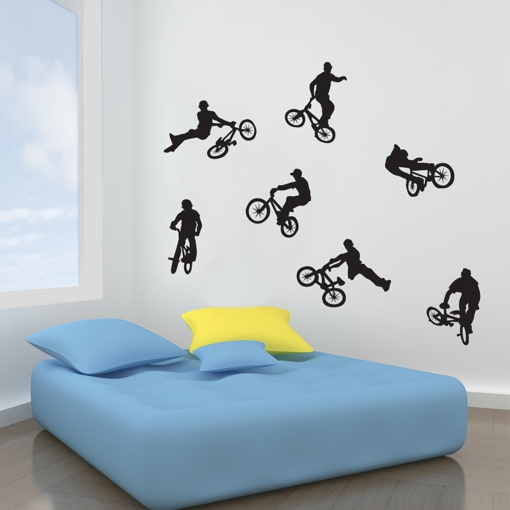 LADNAGSAJD Wall Decal Kids BMX Bike Wall Stickers Set of 7 Wall Decorations Window Stickers Large, Bright Green