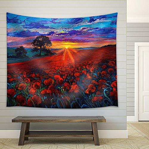 Original Oil Painting of Opium Poppy(Papaver Somniferum) Field in Front of Beautiful Sunset Fabric Wall