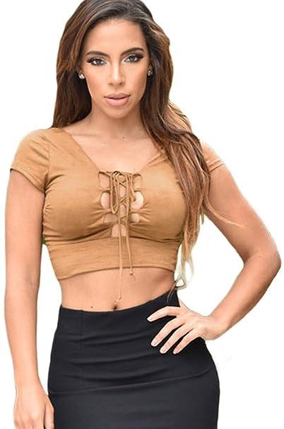 Moda Moda Mujer Cordón de Tirantes Escote Pronunciado en V Camiseta Sin Mangas Crop Top Corta. Pasa ...