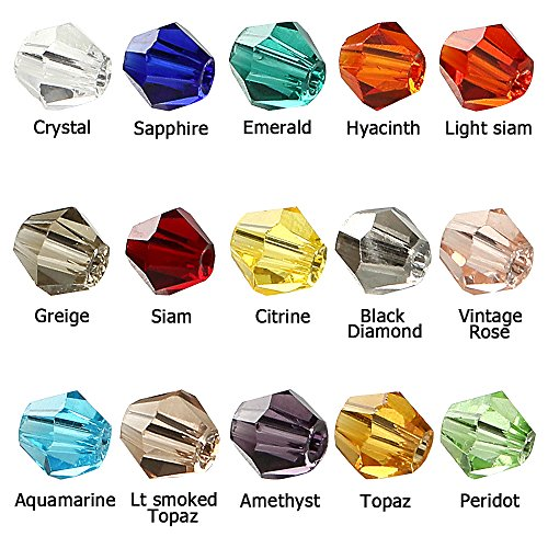 Beads Glass Medium Assorted (BRCbeads Crystal Glass Beads Finding Spacer Charms 1500pcs Faceted Bicone Shape 4mm Assorted Colors include Plastic Jewelry Container Box Wholesale Mix lot for jewelery making)