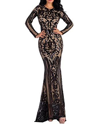 e16367b56 LinlinQ Women Sexy O Neck Long Sleeve Retro Sequin Maxi Gorgeous Dress Black  S