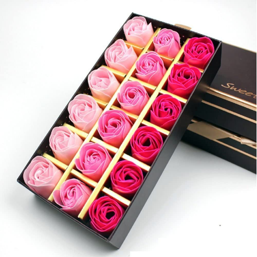 Jzhen 18 Pcs Flor Rosas de Jabón Color del Gradiente en Caja de Regalo, Regalo para Cumpleaños Regalo, Día de San Valentín, Día de la Madre ect