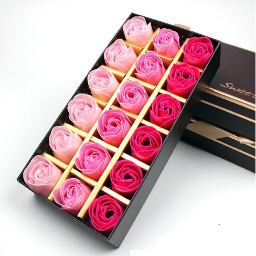 Cisixin 18 Pezzi Creativo regalo Fiore del sapone artificiali Rose fiori di sapone per la festa di compleanno San Valentino Blu