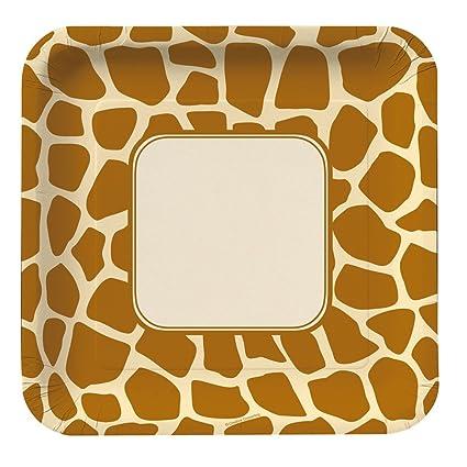 Amazon.com: Creative Converting Animal Print Giraffe Square Large ...