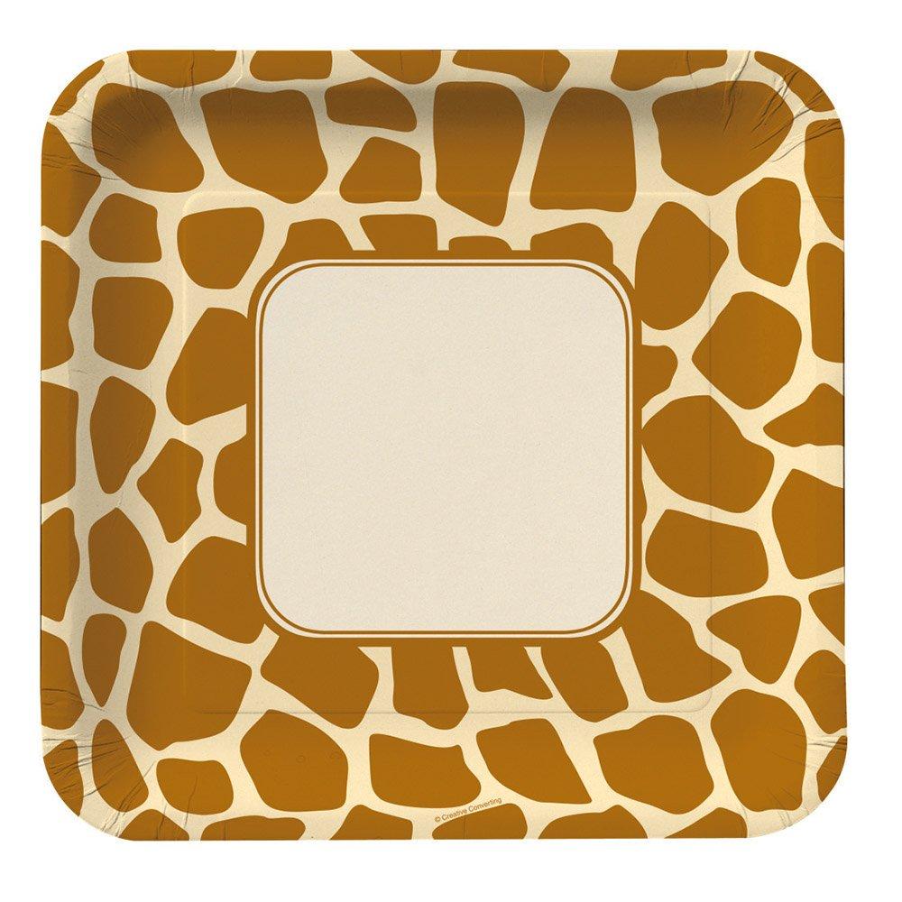 Creative Converting Animal Print Giraffe Square Large Banquet Plates, 8 Count
