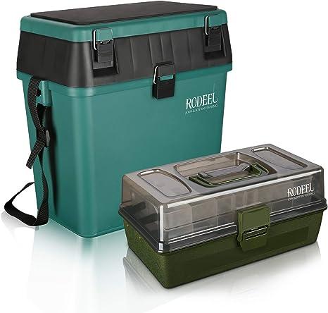 Rodeel caja de pesca con bandejas voladizas, caja de aparejos de pesca con correa acolchada y almohadilla de asiento caja rígida, 1.Seat Box & Tackle Box set: Amazon.es: Deportes y aire libre