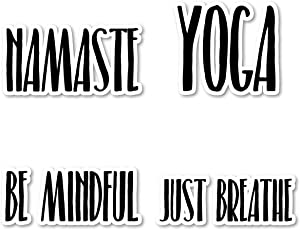 Yoga Just Breathe Sticker Pack Yoga Stickers - 4 Pack - Sticker Vinyl Decal - Laptop, Phone, Tablet Vinyl Decal Sticker (4 Pack) S183301