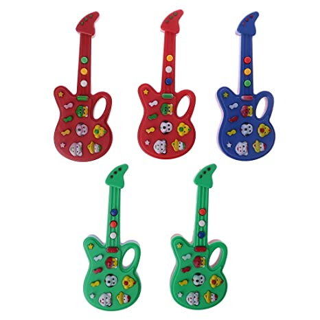 Xuniu Desarrollo de Niños Instrumento Musical Guitarra Juguete para Niños Guitarra Eléctrica Juguetes de Color Aleatoriamente