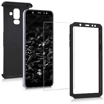 kwmobile Funda para Samsung Galaxy A6+/A6 Plus (2018) - Carcasa Protectora Completa con [Cristal Templado] - Cover con Protector de Pantalla [Duro]