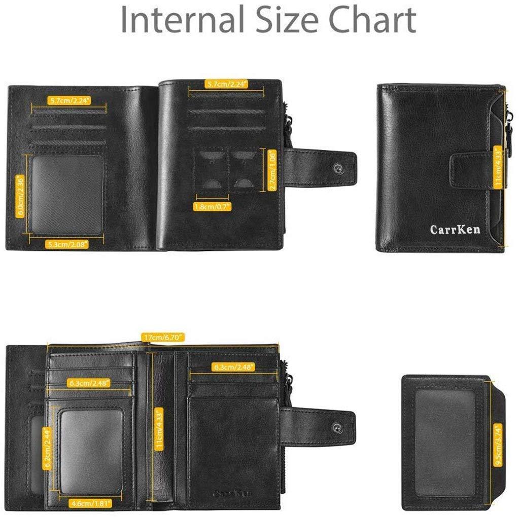 Portefeuille pour Hommes en PU avec RFID bloquant Un Porte-Cartes de cr/édit avec Porte-Cartes de cr/édit avec Poche /à Monnaie zipp/ée pour Hommes(H-J03)
