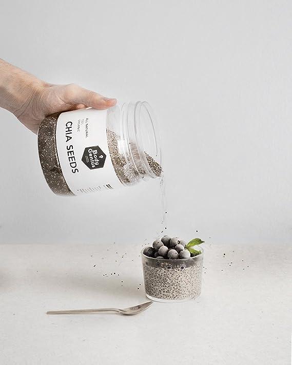 BODY GENIUS Chia Seeds. All Natural. 100% Organic. Semillas de Chia ECO. 600 gr: Amazon.es: Salud y cuidado personal