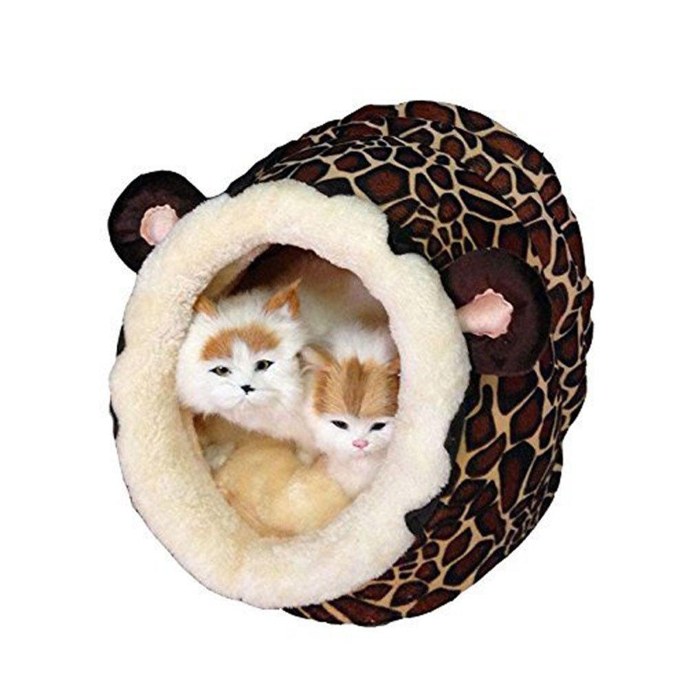Owikar Lion Style chaud Chat Chien Maison Dessin animé Coton doux rembourré en peluche Condo Grotte lavable avec coussin amovible à l'intérieur pour animal domestique chenil Canapé d'Puppy Kitty Teddy Rest Tapis de sol