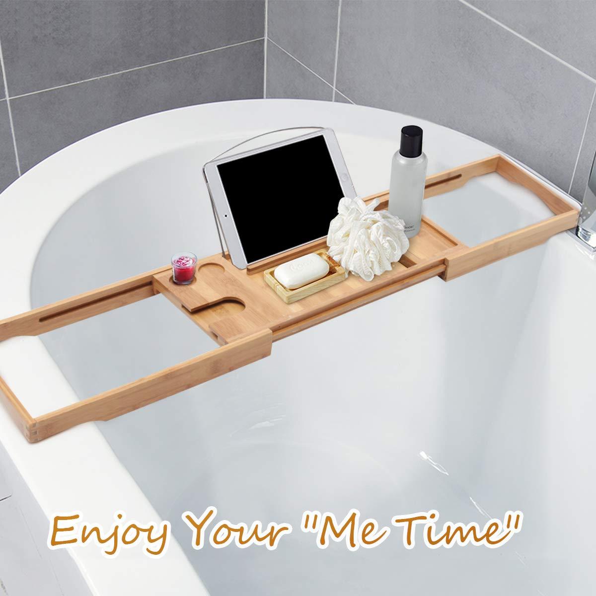 ESSORT Badewannen Candy Badewannenbretter aus Bambus versenkbarer Badewannentablett f/ür eine 60-95 cm breite Badewanne Kerzen und Weingl/äsern Mobiltelefonen Badewannenablage zur Aufnahme von iPads