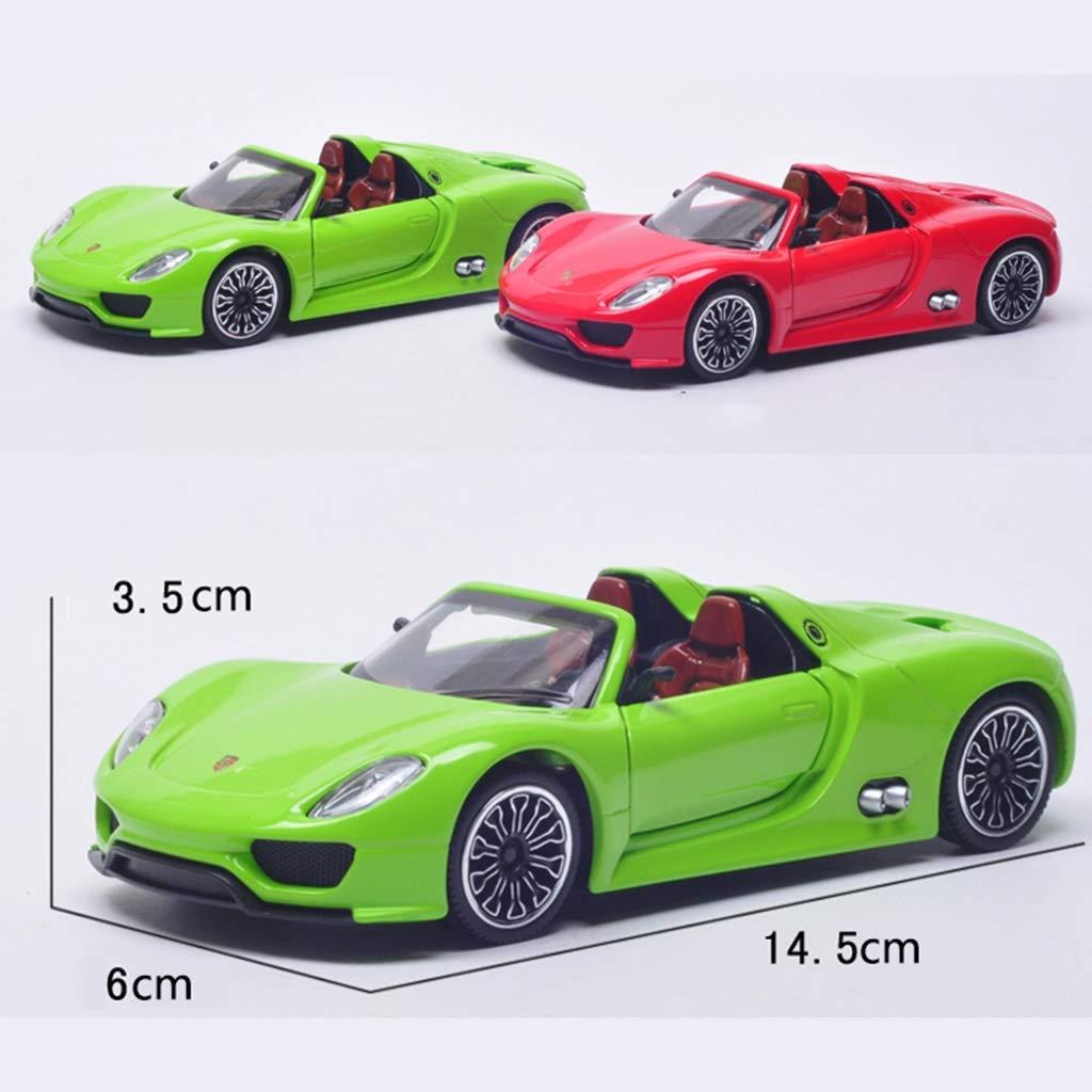 XINGPING-TOY Porsche 918 Roadster Modelo de Coche de aleación de Sonido y versión de aleación Ligera Tire hacia atrás Coche Juguetes para niños 1:32 (Color : Green)