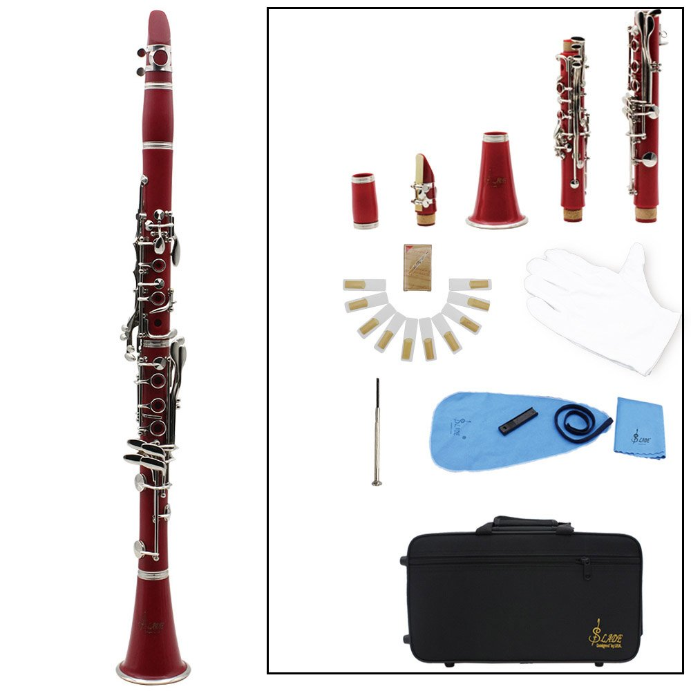 Clarinet,Soprano,17 Key bB Flat,ABS Binocular Clarinet with Cleaning Cloth Gloves 10 Reeds Screwdriver Reed Case Woodwind Instrument (Red)