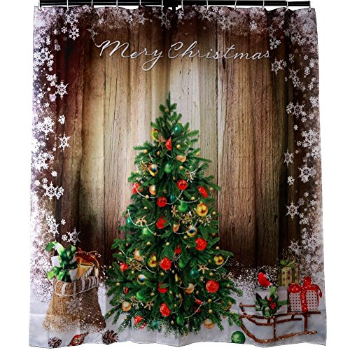 Gifts Decorative Christmas Tree Shower Curtain, Vintage Wood Wall Sparkling Snow Gifts Corner Warm Festival Scene Long Waterproof Mildew Resistant Curtain with C-type Hooks