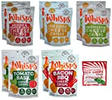 10-Pack Whisps Cheese Crisps 5 Flavors (2.12oz) + Ice Chips Peppermint Bundle; Low Carb, 100% Cheese, Gluten Free