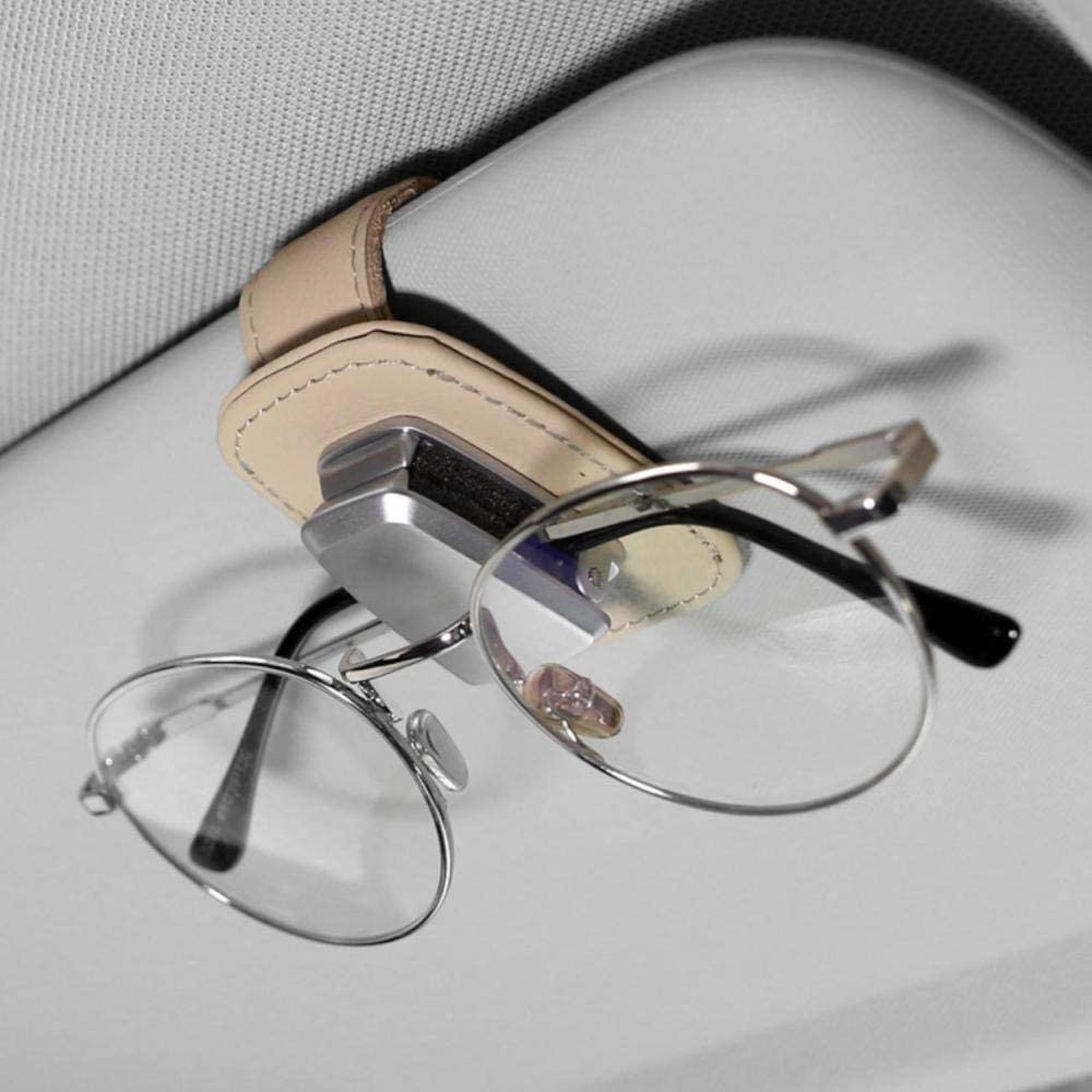 AUXMART Car Visor Sunglasses Leather Holder Sunglasses Clip Suitable for All Models Beige